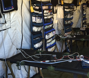 Inside the medical triage tent
