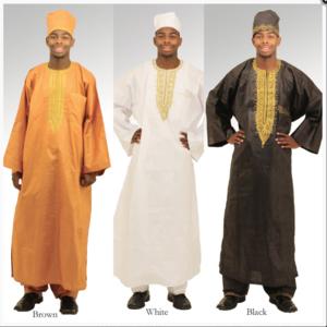 Image of three full length men's dashikis