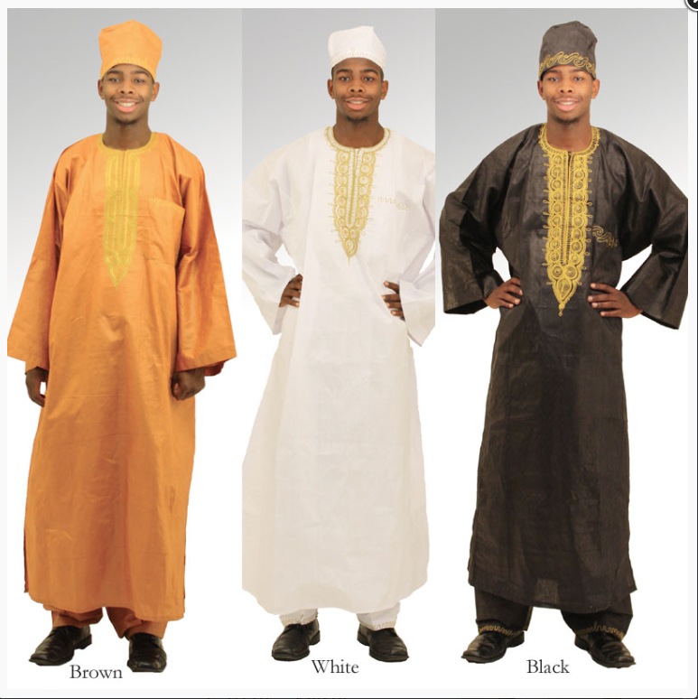 Image of three full length men's dashikis