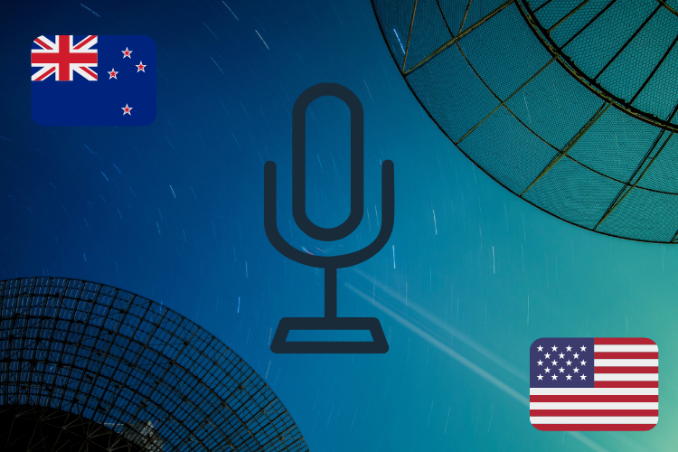 Picture of New Zealand and American flags with radio icon