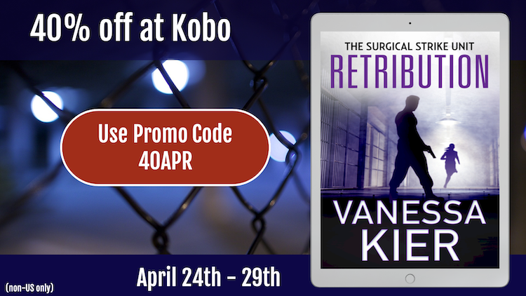 Image of the cover of Retribution in an e-reader frame with a chain link fence in the back