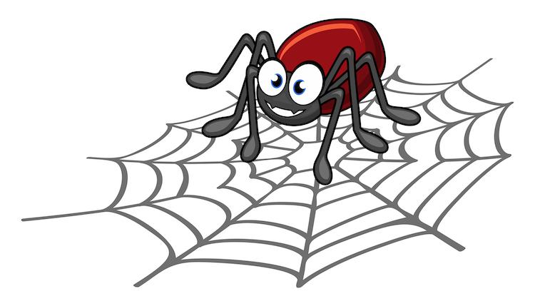 Cartoon spider on a web
