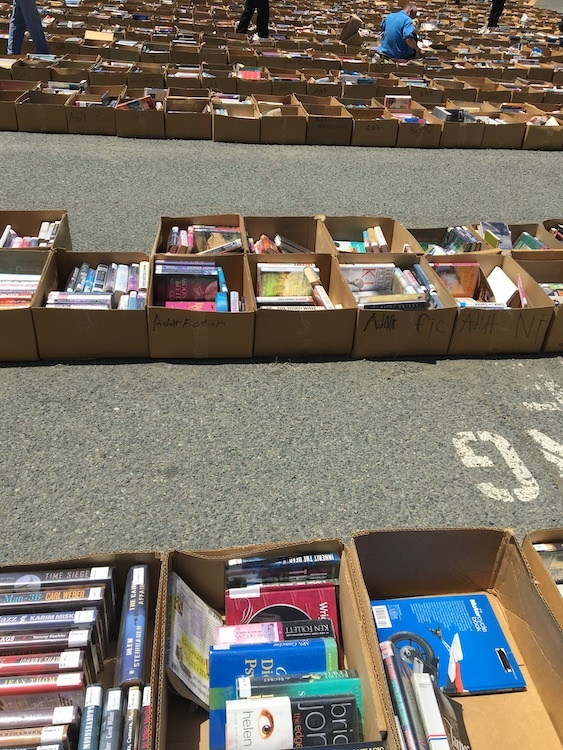 Boxes of library books being given away