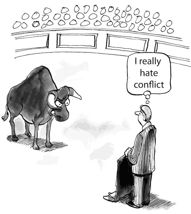 Cartoon of bull and a bullfighter who hates conflict