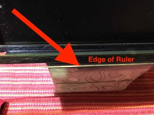 Photo of black document holder with a clear ruler along its edge, sitting on a box of tissues.