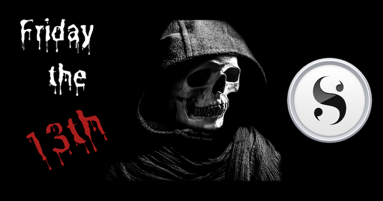 Text of Friday the 13th, Grim Reaper, and Scrivener logo on a black background