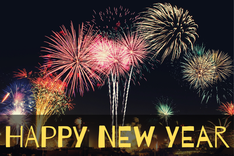 Photo of fireworks on black background with Happy New Year text