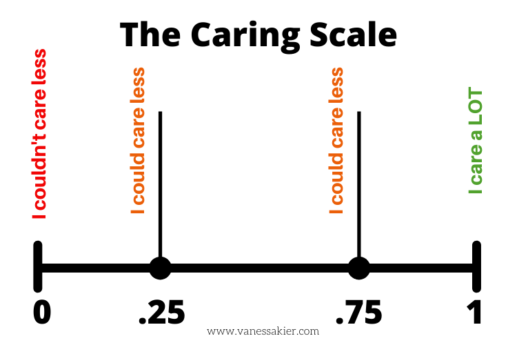 Graphic of a number line from 0 (I couldn't care less) to 1 (I care a LOT)