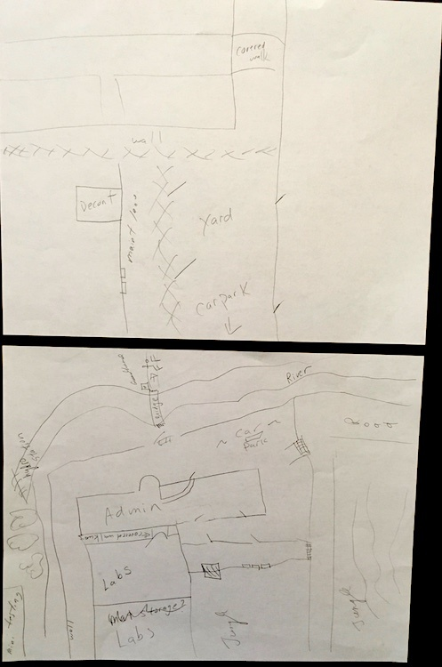 sketches of the back area of the compound