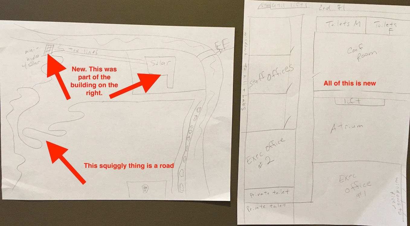 sketches of new map from above of facility