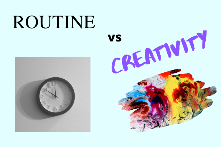 Graphic of a clock and a splotch of multi-color paint with the text Routine vs Creativity