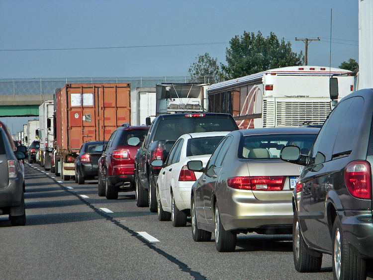 Photo of cars in a traffic jam