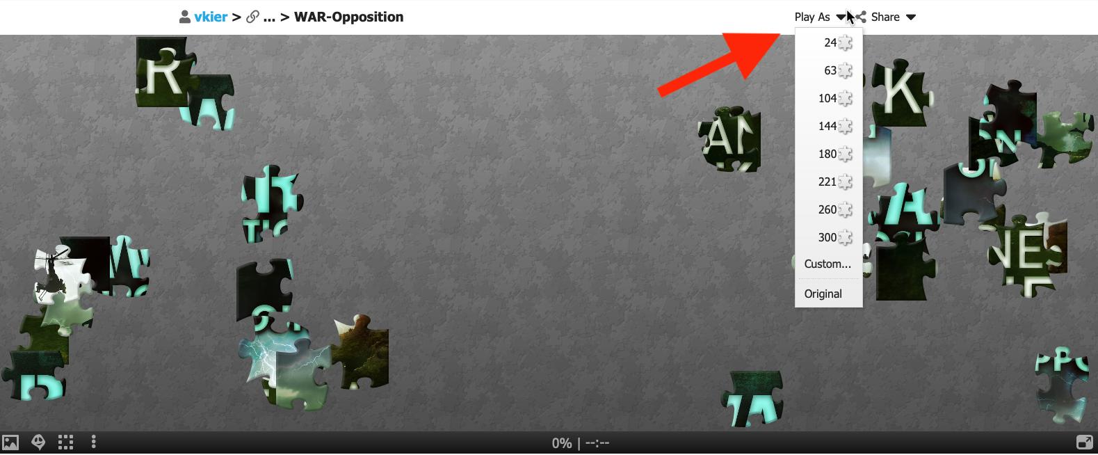 arrow pointing to dropdown menu in online puzle