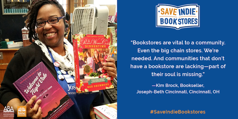 Image of woman holding books with a huge smile on her face and a quote about the importance of bookstores