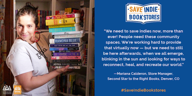 Photo of woman with a stack of books and a quote regarding importance of indie bookstores