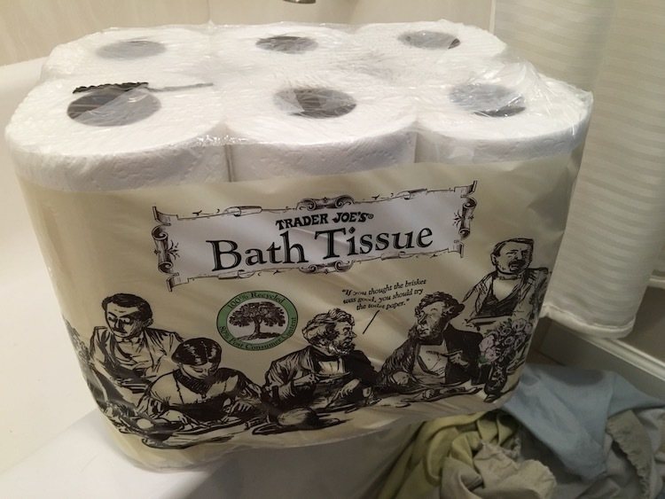 Photo of six pack of Trader Joe's toilet paper
