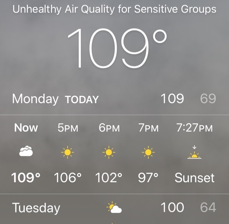 Screenshot of weather showing 109F temperature