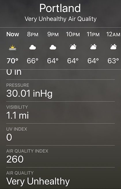 Screenshot of weather app showing Portland, OR at 260 AQI