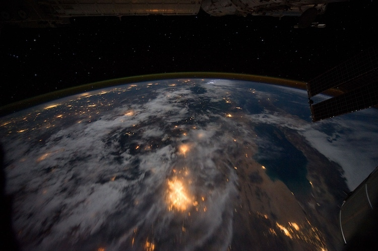 Image of Baja California at night taken by the International Space Station