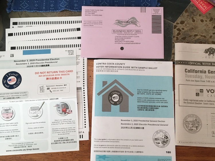 Photo of mail-in ballot documents