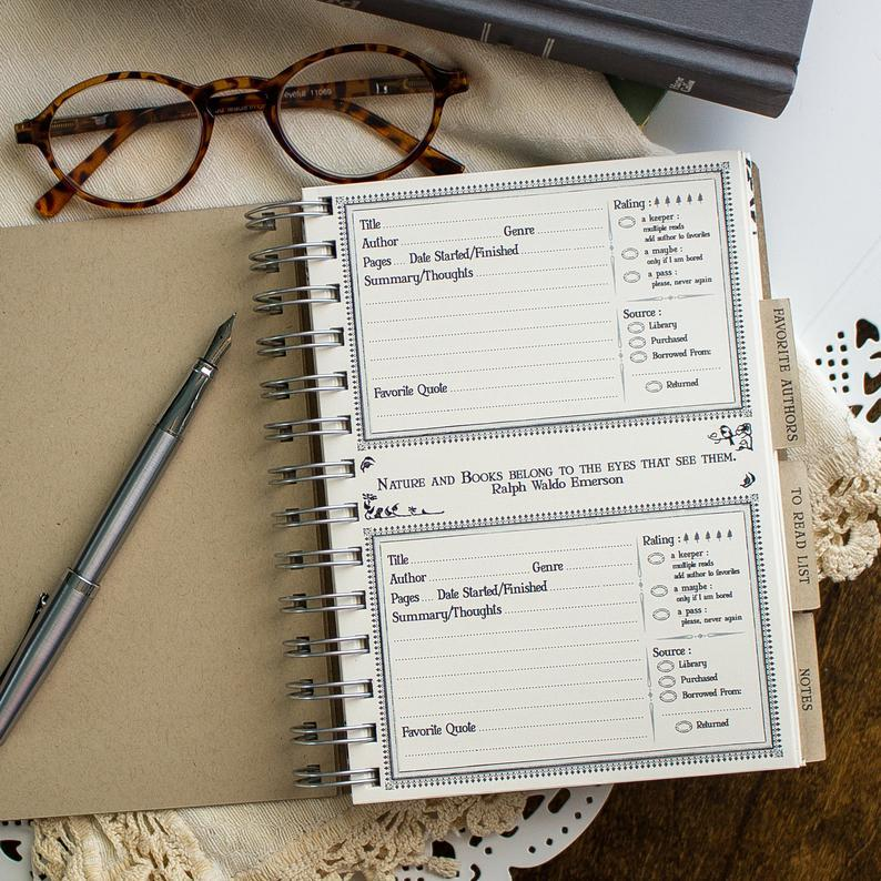 Photo of a preprinted page in a notebook with places for name of book read, pages, genre, thoughts, and favorite quotes