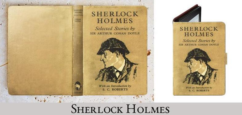 Photo of ereader cover with drawing of Sherlock Holme's head