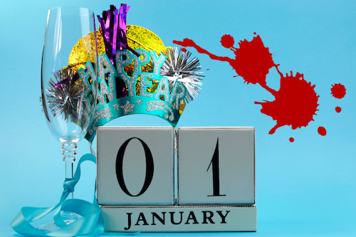 Empty champagne glass, party hat, calendar 01 January, with blood spatter