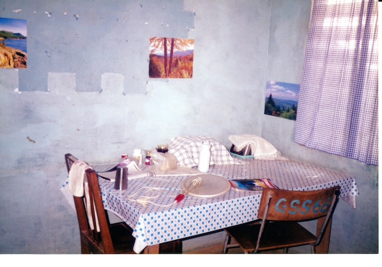 Photo of a blue and white checkered plastic table cloth on a table with two mismatched wooden chairs. To the right are blue checkered curtains over a window.