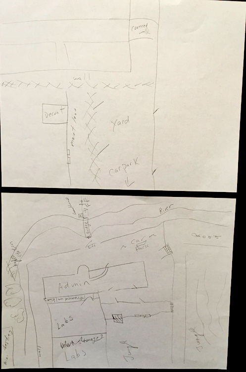 Photo of two hand drawn sketches. The top is of the side of a building and the car park as seen from above. The second is also from above showing the main sections of the building, the river, and the road.