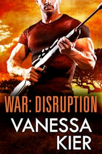 Cover of WAR: Disruption. In the foreground, a man in a dark t-shirt is holding a rifle across his chest. The rifle is pointed up and to the right. Behind him is an acacia tree against an orange sky.
