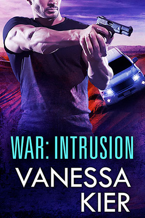 Cover of WAR: Intrusion. In the foreground, a man in a dark t-shirt is holding a gun two-handed and pointing it to the right. Behind him, a white SUV with its lights on is driving toward him down a sand dune.