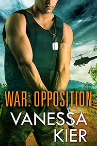 Cover of WAR: Opposition. In the foreground, a man wearing military camo pants, a sleeveless protective vest, and dog tags. He's holding a gun two-handed, pointing the weapon toward the ground. A helicopter is landing behind him.