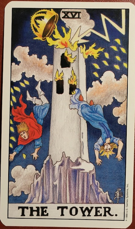 Photo of The Tower card from Tarot with lightning striking a tower and people falling out of the tower